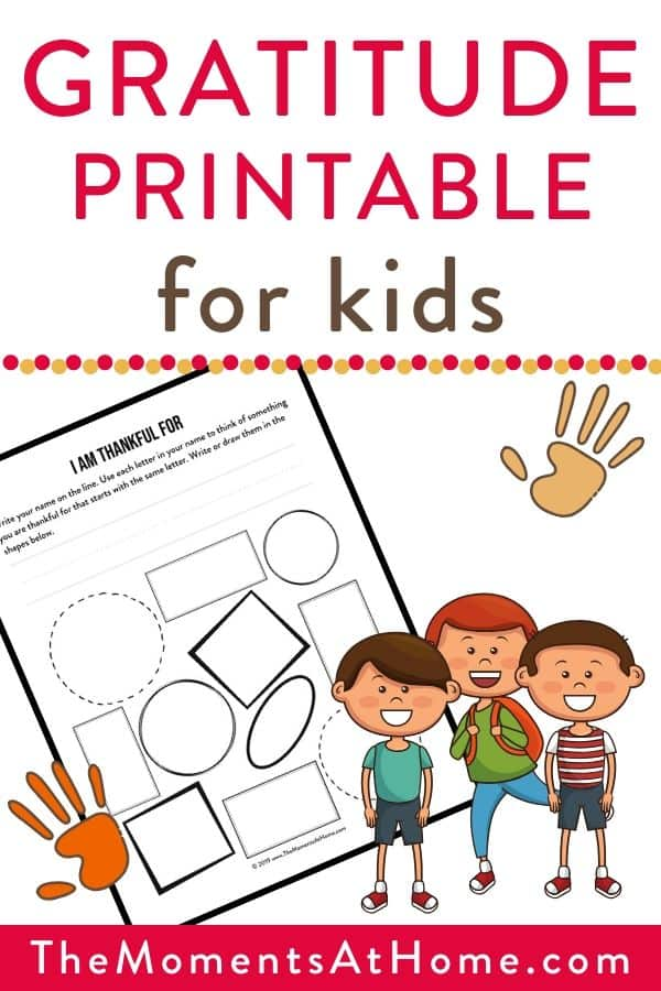"""gratitude printable for kids"" text over sample of free printable PDF worksheet and cartoon children"