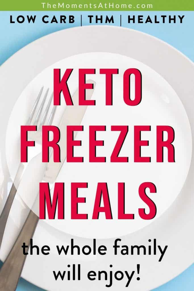 "empty plate with text ""keto freezer meals"""