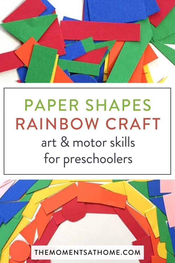 "shapes from construction paper arranged into a rainbow and set ""paper shapes rainbow craft: art and Motor skills for preschoolers"""